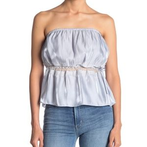 Free People Telling You Strapless Top Light Blue